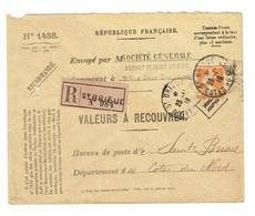 Recouvrement Enveloppe N°1488 Saint Brieuc  TAD 25/11/1918 N° 141 30 C Orange Semeuse Enveloppe Entière Rare Et TTB - Storia Postale