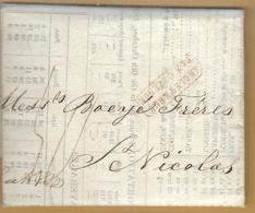 _6Rv-954:brief:97x82mm:ANGLETERRE PAR OSTENDE >ST. NICOLAS 12 OCT 1832 - 1830-1849 (Belgique Indépendante)