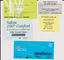 Lot 5 Tickets Hétéroclites Entrées Parc Floral Orléans, Maupassant, Salon Confort, Salon Livre, Auto Matra - Biglietti D'ingresso