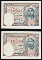 ALGERIE: Lot De 2 Billets Neufs 5 F Musulmane. Date 03/06/1929 N°77a, Les Numéros Se Suivent - Algeria