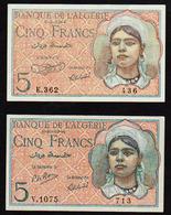 ALGERIE: Lot De 2 Billets Neufs N° 94a, 5 F Musulmane. Signatures Différentes - Algeria