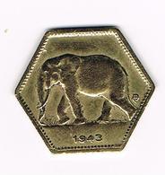 -&  BELGISCH CONGO - CONGO  BELGE  2 FRANCS  LEOPOLD III   1943 - Congo (Belge) & Ruanda-Urundi