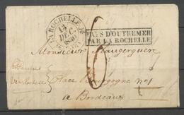 Lettre PAYS D'OUTREMER/PAR LA ROCHELLE Encadré + C.12 La Rochelle X4113 - Storia Postale