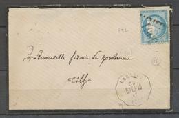 1873 Lettre Labatut, Conv. Station BAY.PAU + GC 3861 Sur N°22, LANDES X4146 - Storia Postale