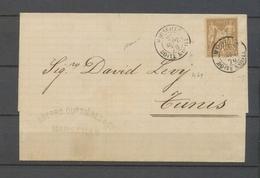 1876 Lettre Sage 30c. Pour TUNIS, Obl. Marseille/Boite Mobile, SUP X3933 - Marcophilie (Lettres)