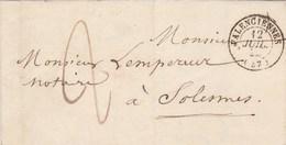 Lettre Cachet VALENCIENNES Nord 12/7/1844 Taxe Manuscrite  Pour Solesmes - Marcophilie (Lettres)