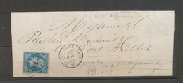 1860 Lettre Losange ES1, 1 Romain + Paris (ES1) Càd Type 1510 PARIS X4084 - Marcophilie (Lettres)