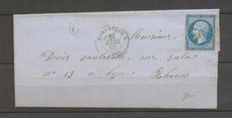 1862 Romanèche, PC Bleus Sur N°14 + C.15 Bleu + G: Chinas, SAONE ET LOIRE X4093 - Marcophilie (Lettres)