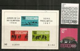 MEXIQUE.Jeux Olympiques De Mexico 1968.  Bloc-feuillet + Timbres Neufs ** - Zomer 1968: Mexico-City