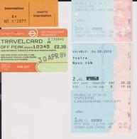 Lot 5 Tickets Hétéroclites Transports Londres 1989, Liaison La Plagne, Ferry Lausanne, Nyon, Mont Blanc 2007 - Biglietti D'ingresso