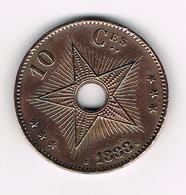 -& LEOPOLD II ROI DES BELGES SOUV. DE L'IDEP.DU CONGO 10 CENTIMES  1888 - Congo (Belga) & Ruanda-Urundi