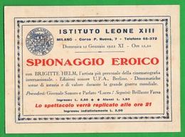 Milano Cinema Leone XIII° Pubblicità Film Germanico : Spionaggio Eroico 1933  Cinèma Chino Cartoncino - Programmi
