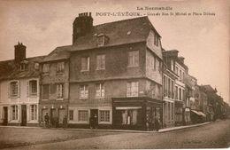 Cpa 14 PONT-L'EVEQUE   Grande Rue St Michel Et Place Dubois , Dos Vierge ,animée, Peu Courante - Pont-l'Evèque