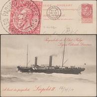 Belgique 1904. Entier Postal, Carte Paquebot à 10 C, Oblitération Paquebot 1910. Léopold II - Ships