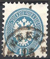 Lombardo Veneto, 1864 Stemma 10s Azzurro D. 9½  #  Michel 22 - Y.T. 26 - Scott 23 - Sassone 44  USATO - Lombardo-Veneto