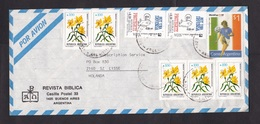 Argentina: Airmail Cover To Netherlands, 8 Stamps, World Cup Soccer, Football, Condom, Aids, HIV, Flower (traces Of Use) - Brieven En Documenten