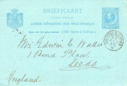 Postal Stationery Card Netherlands Holland Vitrite Works Posted Midelburg & Rotterdam To Leeds UK 1890 - Periode 1852-1890 (Willem III)