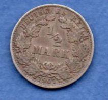 Allemagne  -  1/2 Mark 1907 A  -  Km # 17  -  état  TTB - [ 2] 1871-1918 : Empire Allemand