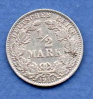 Allemagne  -  1/2 Mark 1915 J   -  Km # 17  -  état  SUP - [ 2] 1871-1918 : Empire Allemand