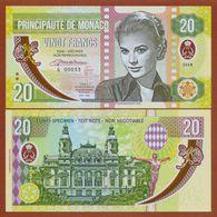 MONACO 20 Francs 2018 Polymer UNC. Grace Kelly. Private Essay. Specimen. - Banknotes