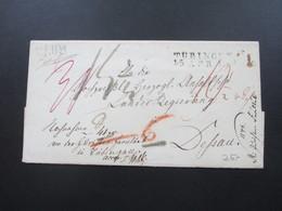 AD / Vorphila 1839 Stempel L2 Tübingen Und Halle Nach Dessau Mit Vielen Tax Vermerken!Bartaxe/toller Beleg. Papiersiegel - Deutschland