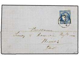 1835 FRANCIA. 1871. CERILLY To NINES. <B>20 Cts.</B> Blue, With <B>A 'BRIGADE'</B> Cancel. NICE And VERY RARE. - Briefmarken