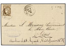 1860 FRANCIA. Yv.56. 1874. MARSELLA A GÉNOVA. <B>30 Cts.</B> Castaño<B> DENTADO MUY DESPLAZADO.</B> Espectacular Varieda - Briefmarken