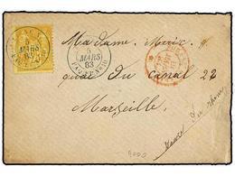 1894 FRANCIA. Yv.92. 1883. LINEA N SHANGHAI-MARSELLA. Carta Embarcada En La Escala De ADEN Con Sello Francés De <B>25 Ct - Briefmarken