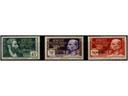1972 * AFRICA ECUATORIAL FRANCESA. Ed.106a, 111a, 114a. 1940. <B>45 Cts, 70 Cts.</B> Y <B>90 Cts.</B> <B>SOBRECARGA DOBL - Briefmarken