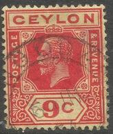 Ceylon. 1921-32 KGV. Mult Script CA W/M. 9c Used. SG 345 - Ceylon (...-1947)
