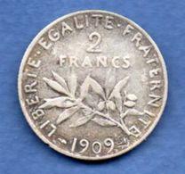 Semeuse -  2 Francs 1909  --  état  TTB - Frankreich