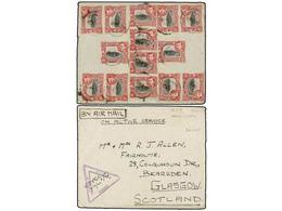 2995 KENIA. 1942. KENYA To SCOTLAND. <B>AIR MAIL</B> Cover Franked With Fourteen <B>15 Cts.</B> Stamps. - Briefmarken