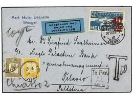 3131 PALESTINA. 1937. WENGEN (Switzerland) To TEL AVIV. <B>40 On 90 Rp.</B> Blue, Taxed On Arrival With Palestina<B> 2 M - Briefmarken