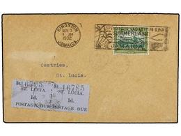 3155 SANTA LUCIA. 1932. KINGTON (Jamaica) To ST. LUCIA.<B> 1/2 D.</B> Green Taxed With St. Lucia <B>1 D.</B> Black On Bl - Briefmarken