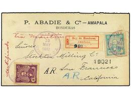 3446 HONDURAS. 1897. Headed Cover With 1896 Arias <B>5 C. And 20 C.</B> Sent Regd From AMAPALA To SAN FRANCISCO With Fin - Briefmarken