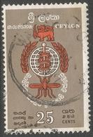 Ceylon. 1962 Malaria Eradications. 25c Used. SG 473 - Sri Lanka (Ceylon) (1948-...)