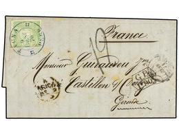 4577 PERU. 1871. TACNA A FRANCIA. <B>1 Dinero</B> Verde. Circulada Vía Inglaterra. Marca De Intercambio <B>GB/1F 90c.</B - Briefmarken
