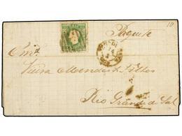 4840 PORTUGAL. Mu.41. 1879. VILLANUEVA DE GAIA A RIO GRANDE DO SUL. <B>50 Reis</B> Verde, Manuscrito 'Paquete'. Al Dorso - Briefmarken