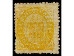 4957 * INDIA PORTUGUESA. Mu.12. 1871. <B>200 Reis</B> Amarillo, Tipo II, Papel Listado. MUY BONITO EJEMPLAR. Cert. M. Da - Briefmarken