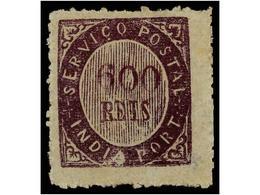 4959 * INDIA PORTUGUESA. Mu.19. 1873. <B>600 Reis</B> Violeta, Papel Azulado Fino. MUY BONITO EJEMPLAR. Cert. M. Da MOTA - Briefmarken