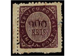 4960 * INDIA PORTUGUESA. Mu.20. 1873. <B>900 Reis</B> Violeta, Tipo IA, Papel Azulado Fino. Borde De Hoja, Insignificant - Briefmarken