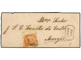 4962 INDIA PORTUGUESA. Af.17. 1874. PANGIM A MARGAO. <B>20 Reis</B> Rojo, Borde De Hoja, Mat. Barras <B>'1'</B> De Pangi - Briefmarken