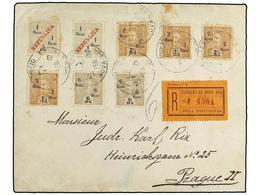 4970 INDIA. 1927. NOVA-GOA A PRAGA (Checoslovaquia). <B>1 R. S. 1 R. </B>(2), <B>2 R. S. 2 1/2 </B>(2),<B> 3 R. S. 2 1/2 - Briefmarken