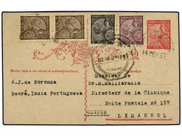 4971 INDIA PORTUGUESA. 1939. NEURA A CHYPRE. Entero Postal De <B>3 Reis</B> Rojo Con Franqueo Adicional De <B>2 Reis</B> - Briefmarken