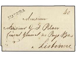 5001 PORTUGAL: MADEIRA. 1823 (2 Agosto). MADEIRA A LISBOA. Marca Lineal <B>MADEIRA </B>en Negro (Frazao FUN 2). MAGNÍFIC - Briefmarken