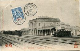 INDOCHINE CARTE POSTALE DU TONKIN -HAIPHONG -LA GARE DEPART HAIPHONG 8 DEC 05 TONKIN POUR LE TONKIN (carte Déchirée) - Indochine (1889-1945)