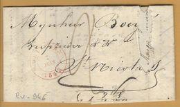 _6Rv-946:brief: 115x63mm: WETTEREN 6 JUNE 1843> ST. NICOLAS 7 JUN 1843 - 1830-1849 (Belgique Indépendante)