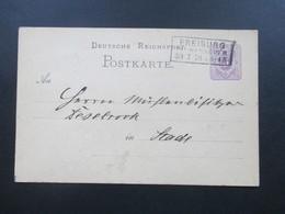 DR 1878 Pfennige GA Mit Rahmestempel R3 Freiburg In Hannover. Nach Stade Mit AK Stempel K1 Stade - Allemagne