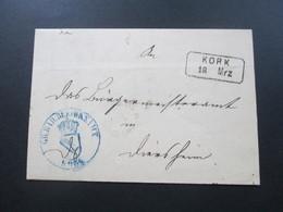 AD Um 1870 Rahmenstempel R2 Kork Und Blauer Stempel Gr. Bad ... Amt Und K1 Bischofsheim - Bade