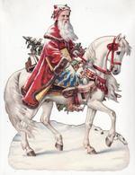 CHROMO DECOUPI    Grand Format    Père Noël, Cheval, Jouets     25.5 X 19 Cm - Christmas